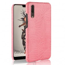 Huawei P20 Crocodile Pattern Shell Leather Hard Retro Phone Case