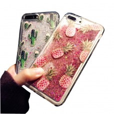 iPhone X Cactus Pineapple Glitter Phone case